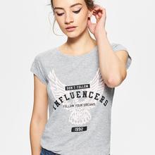 Cropp Koszulka z dużym nadrukiem z przodu - Jasny szary