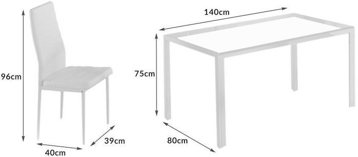 Lectus Zestaw stołowy Fargot biały stół + 6 krzeseł