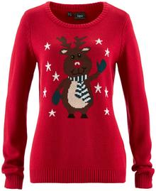 Bonprix Sweter z okrągłym dekoltem czerwony