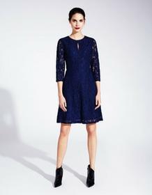 Kala Fashion Sukienka koronkowa z odstającym dołem ciemnoniebieska