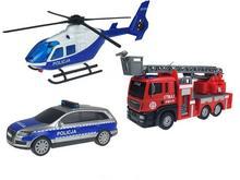 Dickie Pojazdy SOS Zestaw Pilicja Straż Helikopter 10623-uniw
