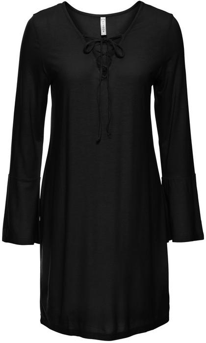 Bonprix Sukienka shirtowa ze sznurowaniem czarny