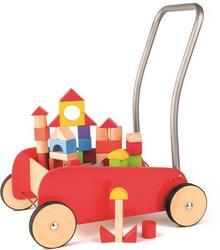 Woody Wózek Pchacz czerwony z klockami