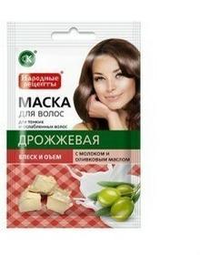 Fitokosmetik Naturalna maska do włosów - Drożdżowa z mlekiem i z oliwą z oliwek - blask i objętość 30ml FIT50