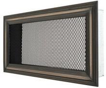 ArtFuego Kratka 12x22 cm, stary mosiądz mat ryflowana, siatka czarna mat - ArtFuego KRM-1222-12