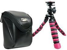 Aktions-Set Aparat fotograficzny torba skórzana z podróży tripod Rollei do Sony CyberShot DSC W830WX350WX220/Canon IXUS 285275HS 180175/Panasonic Lumix DMC SZ10/Nikon Coolpix A300A100 60801 + Rollei 100