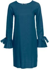 Bonprix Sukienka z ozdobnym wiązaniem niebieskozielony morski