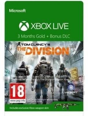 Karta Xbox Live.Microsoft Karta Xbox Live Gold The Division 3 Miesiace 52k 00280