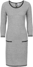 Bonprix Sukienka dzianinowa szary melanż - biel wełny