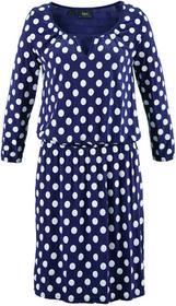 Bonprix Sukienka z dżerseju, rękawy 3/4 kobaltowo-biały w kropki