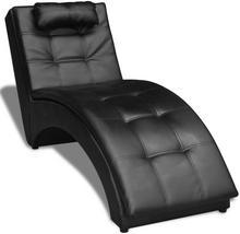 vidaXL Czarna leżanka ze sztucznej skóry, fotel Longue z poduszką