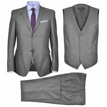 vidaXL Trzyczęściowy garnitur biznesowy, szary, rozmiar 52