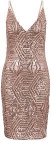 Bonprix Sukienka z cekinami różowy kwarc