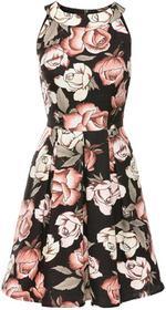 Bonprix Sukienka wzorzysta czarno-jasnoróżowy w kwiaty