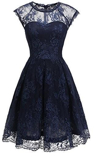 Bbonlinedress Sukienka koktajlowa damski Vintage XX retro Rockabilly Sukienka koronkowa Odświętna sukienka wieczorowa, kolor: grantowy , rozmiar: xxxl B0778F5L88