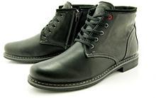 KENT KENT 238 CZARNY - Skórzane buty zimowe ocieplone naturalnym futrem