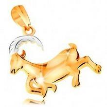 Biżuteria e-shop Zawieszka ze złota 585 - lśniący dwukolorowy symbol znaku zodiaku - KOZIOROŻEC