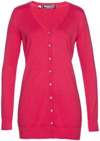 Bonprix Długi sweter rozpinany różowy hibiskus
