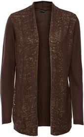 Bonprix Sweter bez zapięcia, z połyskującym nadrukiem brązowo-złocisty