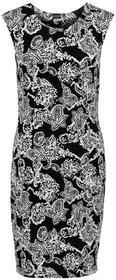 Bonprix Sukienka shirtowa modelująca sylwetkę czarno-biały z nadrukiem