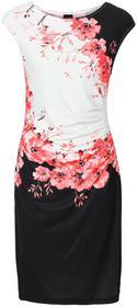 Bonprix Sukienka z marszczeniami czarno-koralowy z nadrukiem
