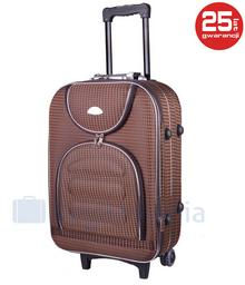 PELLUCCI Mała kabinowa walizka PELLUCCI 801 S - Brązowa Kratka - brązowy