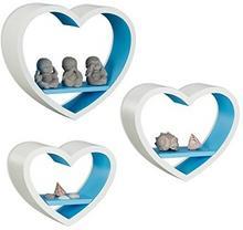 Relaxdays regał ścienny serca zestaw-elementowy, romantyczne dekoracja egale w kształcie serca, przepuszczająca półki, obciążenie do 6kg na ścianę, kolorowy 10021817_361