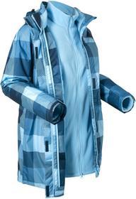 Bonprix Długa kurtka outdoorowa 3 w 1 ciemnoniebieski w kratę