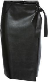 Bonprix Spódnica ze sztucznej skóry z założeniem kopertowym czarny