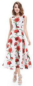 Alisapan alisapan damski do kolan kwiatowym impreza sukienka sukienka letnia sukienka linia A 05443, kolor: biały , rozmiar: 38 B0744GFVGN