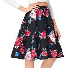 Rock Womens Vintage linia A-obcisła sukienka z nadrukiem kwiatowym spódnice - xl czarny B0797TTF26