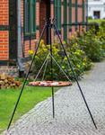 Korono Grill na trójnogu z rusztem ze stali czarnej 180 cm / 60 cm średnica + kołowrotek 180/122