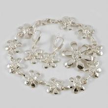 NA Komplet srebrny kwiatuszki bransoletka + wisiorek + kolczyki B89/0 W26/0 K 29/0 (B89/0 W26/0 K 29/0) 272.00