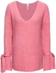 Bonprix Sweter dzianinowy jasnoróżowy melanż