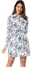 1541ab3ed5 -27% Allegra K damska sukienka samodzielnie krawat talii za pośrednictwem  kolana kwiat Shirt - biały a17110300ux0526