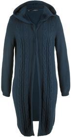 Bonprix Długi sweter rozpinany z kapturem ciemnoniebieski