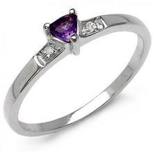 Srebrny pierścionek z ametystem i diamentami 0,16 ct 808-uniw