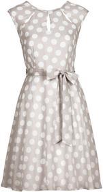 Bonprix Sukienka w groszki piaskowo-biały w groszki