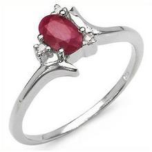 Srebrny pierścionek z naturalnym rubinem i kryształami górskimi 0,70 ct 3124-uniw