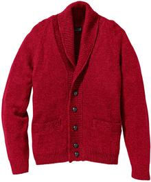 Bonprix Sweter rozpinany Regular Fit ciemnoczerwony melanż