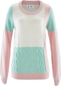 Bonprix Sweter z okrągłym dekoltem, w dzianinowy wzór pastelowy jasnoróżowy - pastelowy miętowy - biel wełny wzorzysty