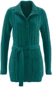 Bonprix Długi sweter rozpinany głęboki zielony