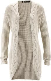 Bonprix Sweter bez zapięcia z błyszczącą nitką kremowo-srebrny