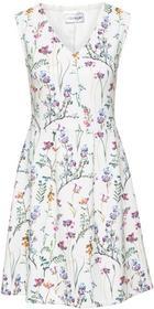 Bonprix Sukienka z dżerseju biel wełny w kwiaty