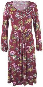 Bonprix Sukienka w kwiaty bordowy z nadrukiem