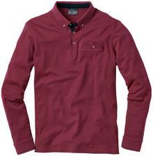 Bonprix Shirt polo z długim rękawem bordowy