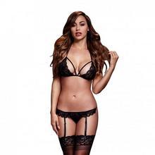 Baci Lingerie Komplet dwuczęściowy - Black Lacy Bra Garter & Open Crotch Panty One Size