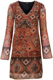 Bonprix Sukienka pomarańczowo-czarno-ciemnobrązowy wzorzysty