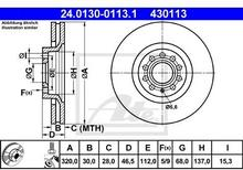 ATE TARCZA HAM 24.0130-0113.1 AUDI A4 S4 QUATTRO 97-00, A6 2.7T QUATTRO 97-05, A6 3.0 01-05, 3.7 99-05, A8 2.5TDI 00-02, 2.8 96-  24.0130-0113.1