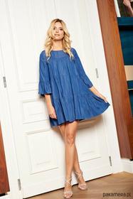 Jeansowa sukienka z marszczeniami